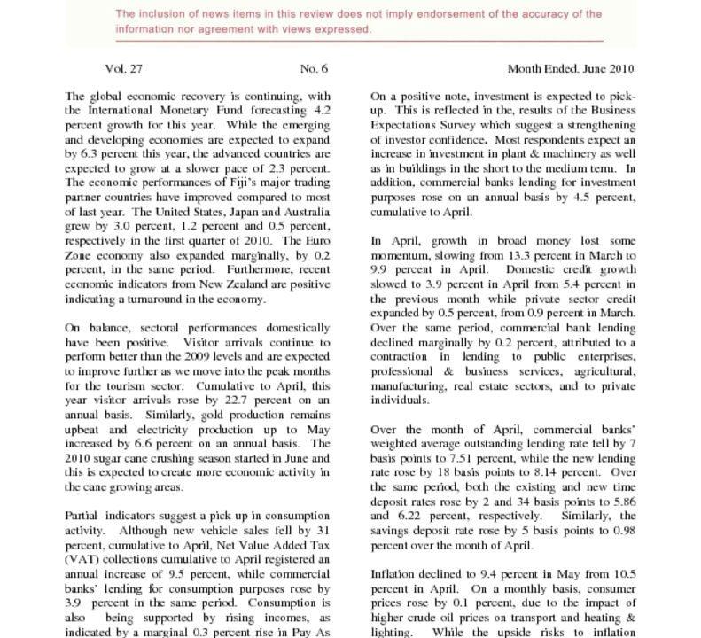 thumbnail of Economic Review – June 2010