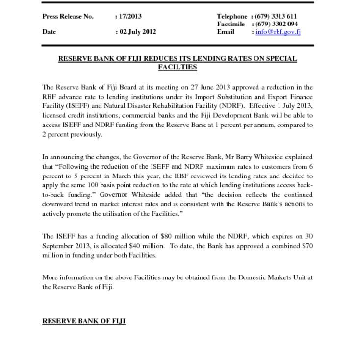 thumbnail of 1Press Release No 17 – Reserve Bank of Fiji Reduces Its Lending Rates On Special Facilities