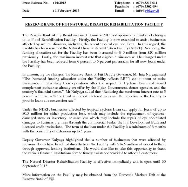 thumbnail of Press Release No 1 RESERVE BANK OF FIJI NATURAL DISASTER REHABILITATION FACILITY
