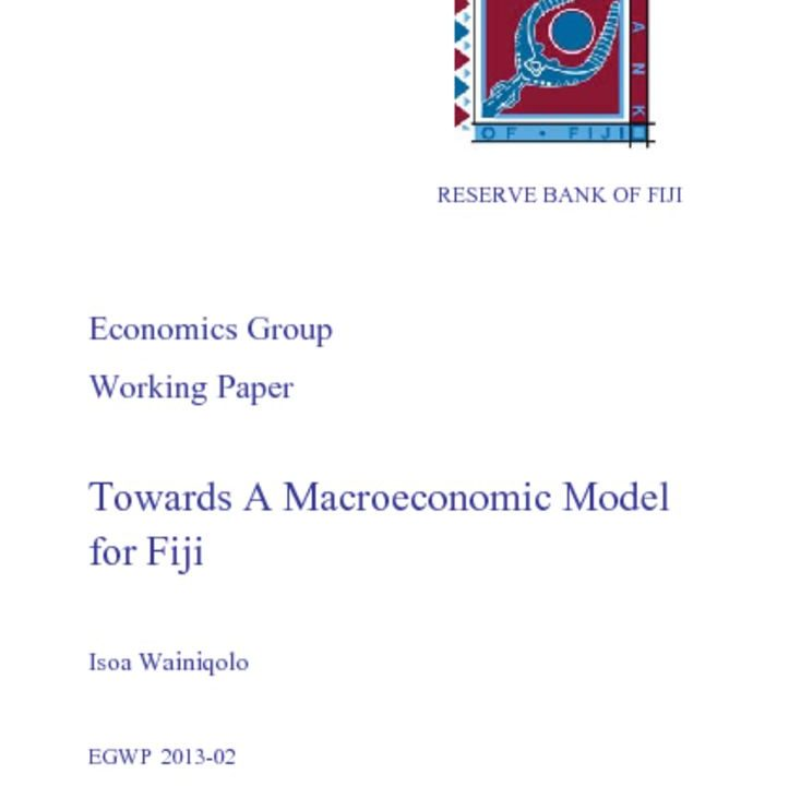 thumbnail of Towards A Macroeconomic Model for Fiji