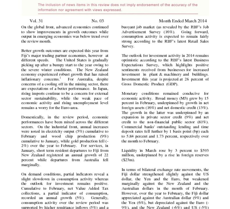 thumbnail of Economic Review – March 2014