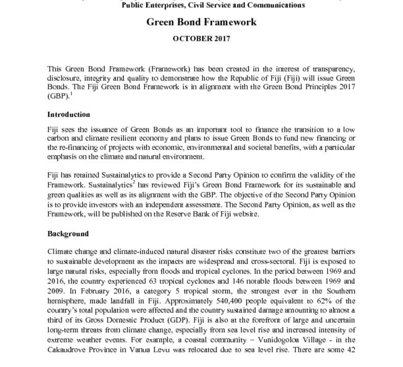 thumbnail of Fiji's Green Bond Framework – October 2017