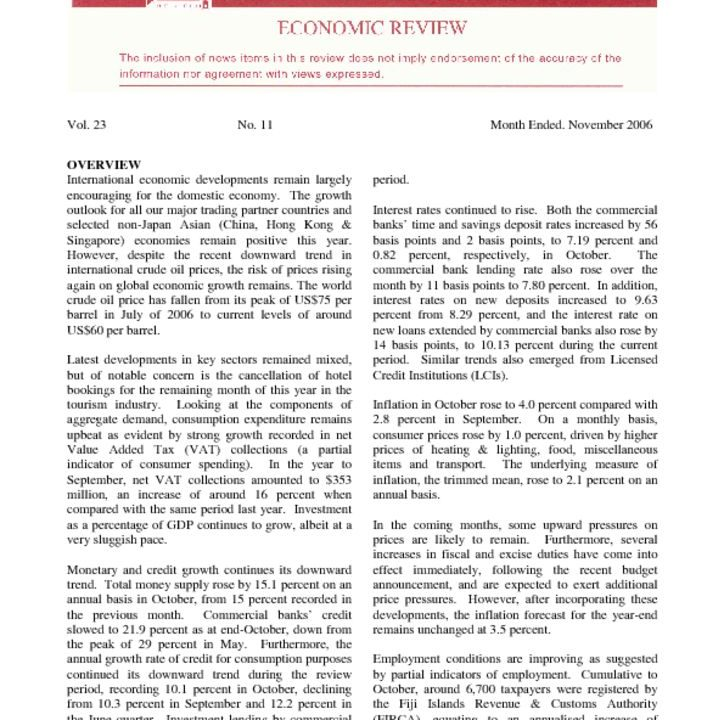 thumbnail of Nov06 Economic Review