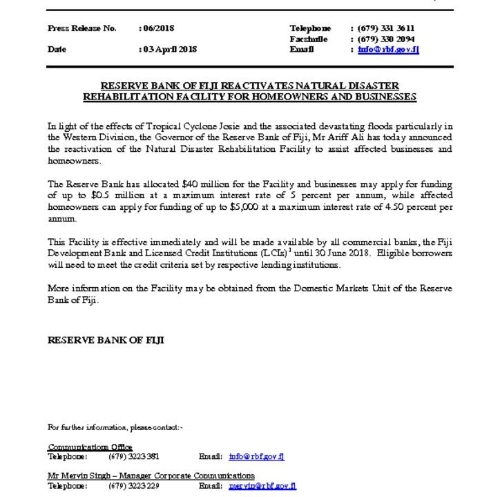 thumbnail of Press-Release-No-6-Reserve-Bank-of-Fiji-Reactivates-Natural-Disaster-Rehabilitation-Facility-for-Homeowners-and-Businesses