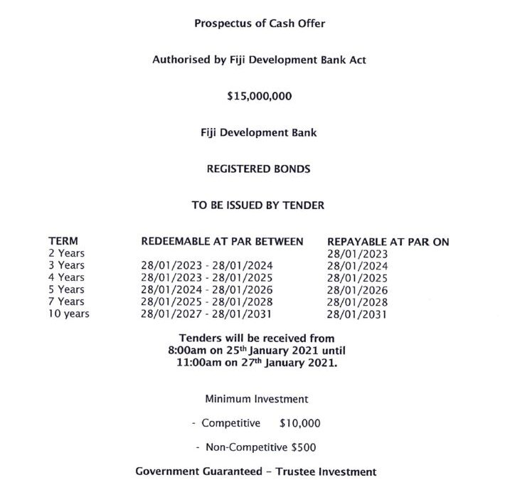 thumbnail of Fiji Development Bank Bond Issue No. 1 of 2021 – 28 January 2021