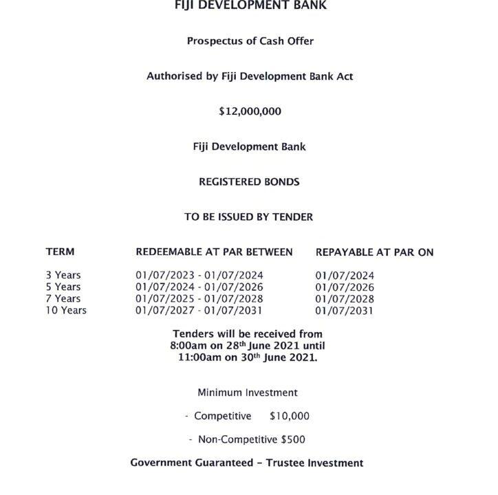 thumbnail of Fiji Development Bank Bond Issue No. 2 of 2021 – 01 July 2021